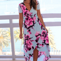 Mint Floral High Low Dress