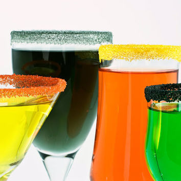 Colored cocktail sugar - Halloween edible rim sugars for party decorations - sweet martinis, margaritas in black, yellow, silver, orange