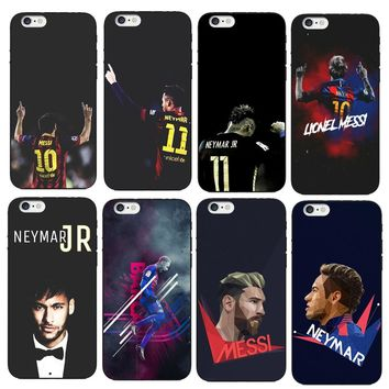 Barcelona Soccer Star Ronaldo Messi Neymar Jersey Pattern Soft TPU Phone Cases For iPhone X 8 7 6 6S Plus 6Plus 5 5S SE Cover