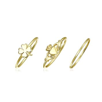 Knuckle Claddagh Midi Ring Set 14K Gold Plate 925 Sterling Silver