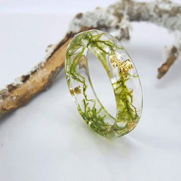 Statement Ring Nature Moss, Terrarium jewelry, Real Flower Ring, Botanical Ring