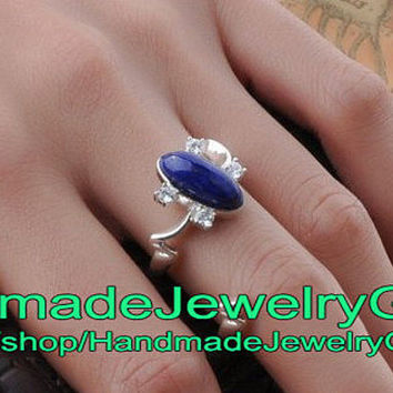 The Vampire Diaries Lapis Lazuli Ellipse Ring Elena Gilbert Ring sz6