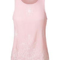 LE3NO Womens Lightweight Loose Fit Floral Print Embroidered Sleeveless Blouse Top