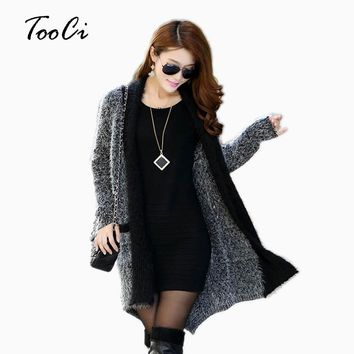 2018 Women Long Cardigan Sweater Fashion Knitted Long Sleeve Cardigan Lady's Casual mohair Sweater Women Coats And Jackets
