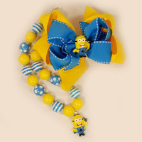 Chunky Beaded Minon Necklace Boutique Jewelry Gumball Necklace Boutique stack Bow Yellow and Blue