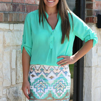 Sequin Aztec Skirt - Mint