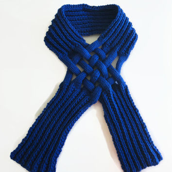 Knit Scarf - Blue Knit Scarf - Woven Scarf - Women's