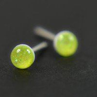 Stud Earrings in Neon Yellow Glitter, Sterling Silver, Teeny Tiny Handmade Jewelry