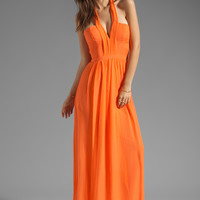 BCBGMAXAZRIA Deep V Maxi Dress in Melon