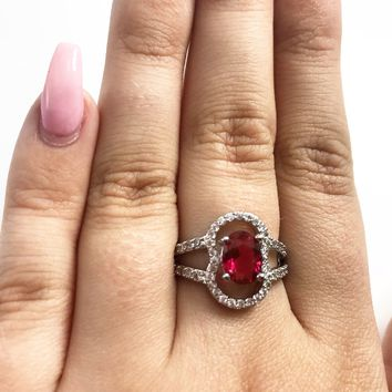 Rubellite CZ Sterling Silver Ring