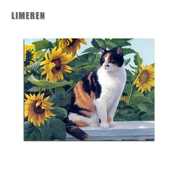 Drop shipping Sunflower Cat DIY Painting By Numbers On Canvas Modular Handpainted  Picture Modern Wall Art Picture