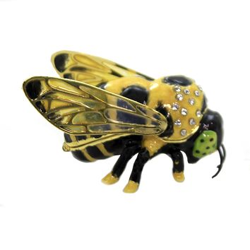 Hinged Trinket Box BUMBLE BEE ENAMELED BOX Metal Austrian Crystals 3476