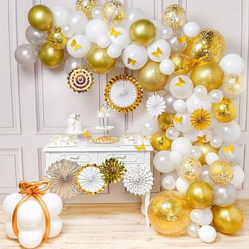 PartyWoo Gold White Balloon Garland, Gold and White Balloons Pack of Gold Balloons, White Balloons, Metallic Balloons and Paper Fans for Gold and White Party, 2 pcs Jumbo Confetti Balloons Included