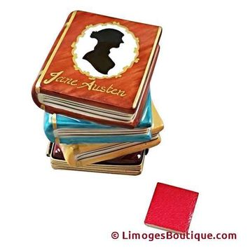 JANE AUSTEN STACK OF BOOKS LIMOGES BOX