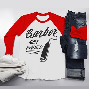 Men's Barber T-Shirt Get Faded Vintage Tee Clippers Barbers 3/4 Sleeve Raglan