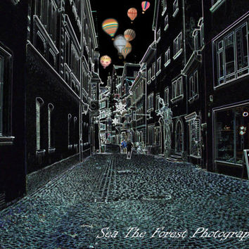 Pen and Ink Photography, Hot Air Balloon Photography, Germany, Europe Wall Art, Streets of Lindau, Black and White Photo, Balloons at Night