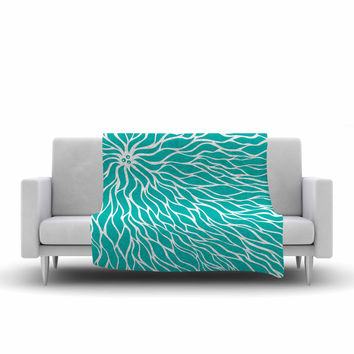 "NL Designs ""Swirls Tiffany"" Teal White Fleece Throw Blanket"
