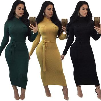 Streetstyle  Casual 3 Color Sexy Long Sleeve Hip Slim Dress