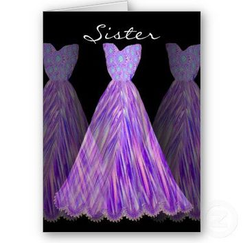 SISTER Be My Maid of Honor or Any Wedding Role SHADES OF PURPLE Dresses Customizable Invitation