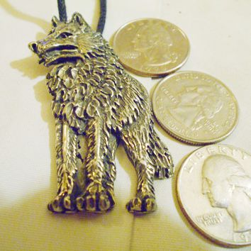 bling pewter wolf wild predator animail big large ancient gothic celtic druid pagan myth fantasy mystical magic zoo circus western pendant charm leather 30 inch cord necklace jewelry hip hop