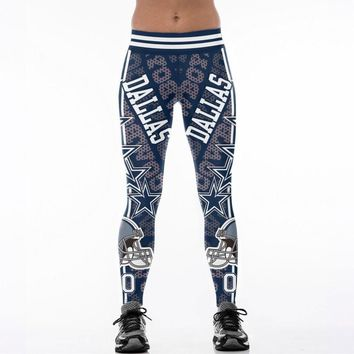 Dallas Cowboys Team 00 Fitness Leggings Elastic Fiber Hiphop Party Cheerleader Rooter Workout Logo Pants Trousers Dropshipping