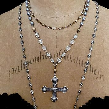 Grey Pearl Crystal Bead Sacred Heart Cross Pendant Rosary Necklace