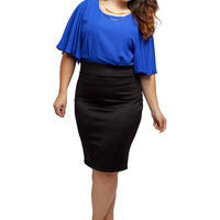 Stylzoo Women's Plus Size Black and Blue Dress with Batwing Sleeves and Gold Necklace