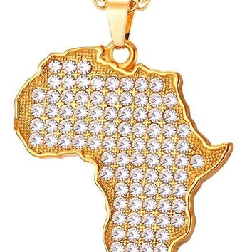 Full Austrian Crystal Map of Africa Pendant Necklace