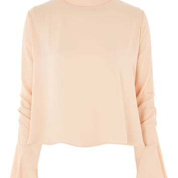 Ruched Sleeve High Neck Blouse - Tops - Clothing
