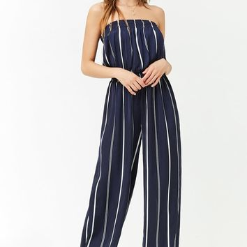 Satin Striped Strapless Jumpsuit