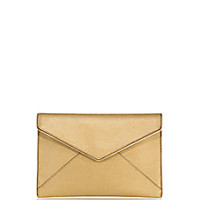Rebecca Minkoff - Leo Metallic Zipper-Trimmed Saffiano Leather Envelope Clutch - Saks Fifth Avenue Mobile