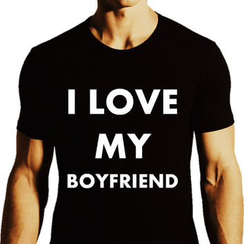 I Love My BOYFRIEND_LGBTQ Love T-shirt Collection_Black Tee_Men - Forever LGBTQ