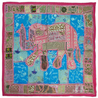 Tribal Bohemian Old Patches Pink Elephant Tapestry Wall Hanging