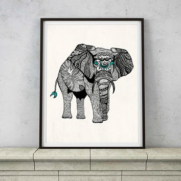 One Tribal Elephant Art Print – 8 x 10 and 11 x 14 Poster in Turquoise, Black & White