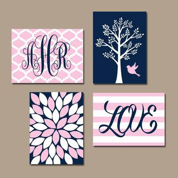 NAVY PINK Nursery Wall Art, Baby Girl Nursery Decor, Tree Bird, Monogram, Girl Bedroom Pictures, CANVAS or Print Above Crib Decor, Set of 4