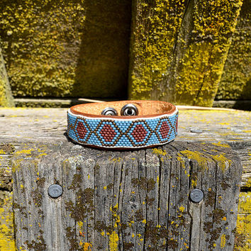 Mens Light Blue Geometric Tribal Bracelet Cuff on Leather