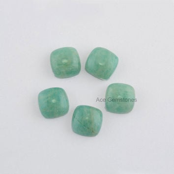 Wholesale Loose Gemstone Cabochon Amazonite Cushion 10x10 AAA Grade - 5 Pcs.