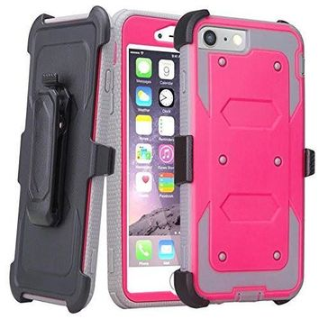 Apple iPhone 7 Plus Case / 6 Plus Case, Triple Protection 3-1 w/ Built in Screen Protector Heavy Duty Rotating Swivel Holster Shell Combo Case for iPhone 7Plus/6Plus - Hot Pink