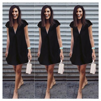 Women Fashion Sexy V Neck Short Cap Sleeve Solid A-Line Mini Dress Business Casual Dress Outfits