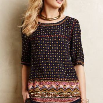 Embroidered Minas Top by Holding Horses Blue Motif