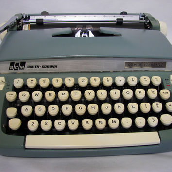 Smith-Corona Super Sterling Typewriter 1960s Turquoise  Vintage