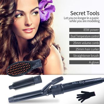3-in-1 Interchangeable Tourmaline Ceramic Hair Curler+Volume Comb+Hair Straightener Brush Hair Styling Tool Set with glove