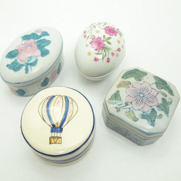 Vintage ceramic trinket boxes ring boxes - Unique party favors - Hostess gifts - Gifts for teachers - Housewarming gifts (Lot of 4)