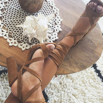 SABO SKIRT - Tan Suede Wrap Heels - SOLD OUT