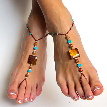 Bohemian Chic Beaded Barefoot Sandals