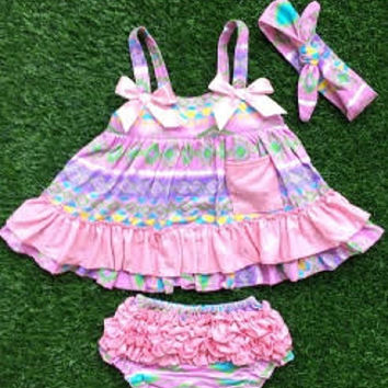 Baby Girl Outfit, Aztec, Lavender, Toddler Girl, Swing Top Set, Purple Ruffled Bloomers Children's Clothing Kids,  Infant Girl