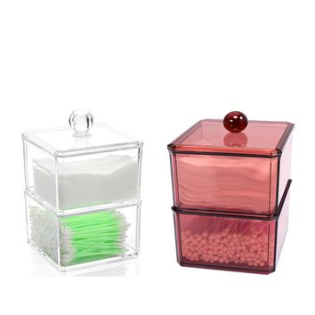 XUNZHE Clear Acrylic Portable  Cotton Swabs Organizer Box Cosmetic Q-tip Storage Holder Makeup Storage Box Cotton Pads Container