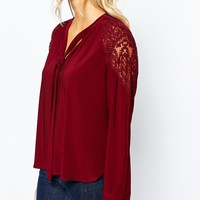 Oasis 70's Lace Shoulder Blouse at asos.com