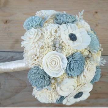 Slate Wedding Collection Large Bridal Bouquet Sola Flowers and dried Flowers Grey Navy Blue Dusty Miller Silver Brunia Anemone