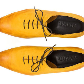 20% off ! -Mens Oxford Shoes - Flat Shoes - Mens Leather Shoes - Mens Shoes - Yellow Shoes - Yellow Flats - Yellow Dress Shoes